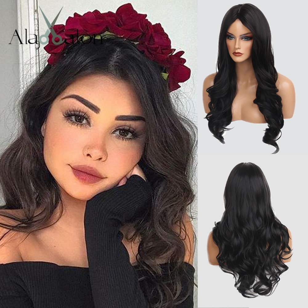 ALAN EATON Long Black Wavy Wigs Cosplay Synthetic Wigs for Women Natural Middle Part Heat Resistant Hair Cosplay Party Wigs