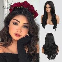 ALAN EATON, длинные черные волнистые парики, косплей, синтетические парики для женщин, натуральные, средняя часть, термостойкие волосы, косплей, вечерние парики