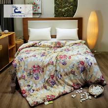 Liv-Esthete Retro Flow 100% Mulberry Silk Duvet Comforter Filled Healthy Skin Blanket Double Queen King Quilt Free Shipping
