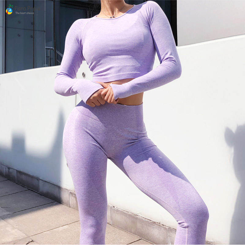 Two Piece Long Sleeve Yoga Set Sportswear for Women Sports Bra Running Suit Fitness Clothing Women Gym Leggings Workout Clothes