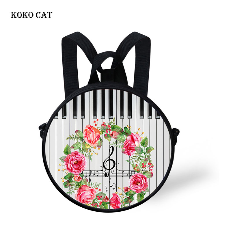 Koko Cat Mini School Bags For Girls Boys Music Piano Notes Flower Printed Kids Backpack Kindergarten Book Bag Satchel Enfant