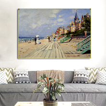 Famous Beach at Trouville Claude Monet Oil Painting on Canvas Art Wall Picture Impressionist for Living Room Cuadros