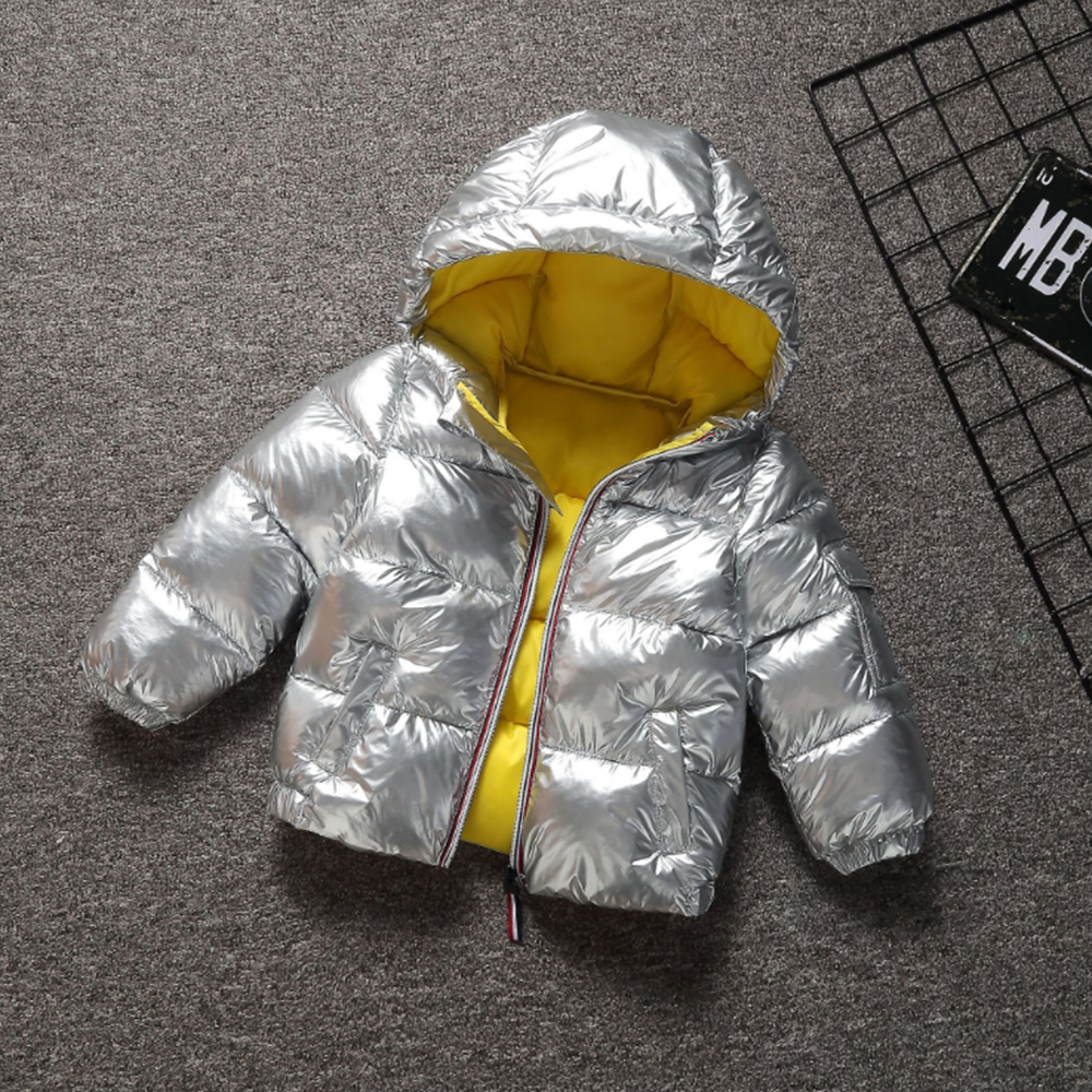 CYSINCOS Baby Boys Girls Coats Winter Jacket Kids Down Cotton Coat Waterproof Snowsuit Pink Gold Jacket Hooded Parka Down Coats