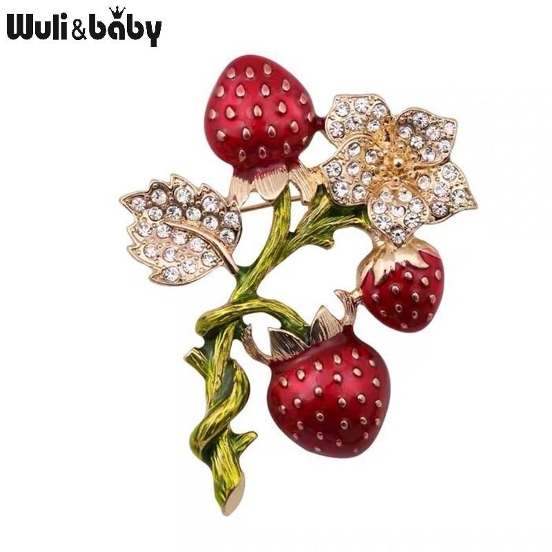 Wuli&baby Rhinestone Enamel Strawberry Brooches Women Alloy Fruits Party Casual Brooch Pins Броши      АлиЭкспресс