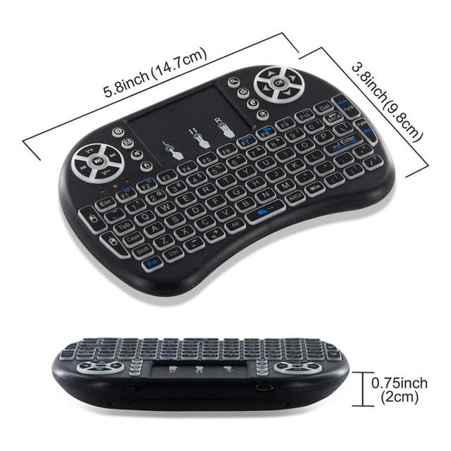 3 Colors Backlit i8 Mini Wireless Keyboard 2.4ghz English Russian 3 Colour Air Mouse with Touchpad Remote Control Android TV Box 5