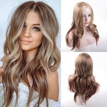 LVHAN Long Wavy Ombre Blonde Wig Platinum Blonde Synthetic Wigs