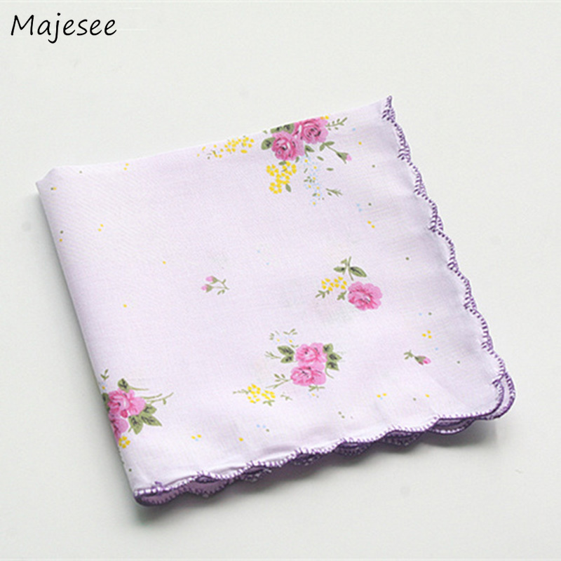 Handkerchiefs Women Elegant Classic Floral Printing Cotton Handkerchief Womens Simple Daily Fashion High Quality Vintage Ladies