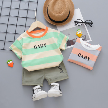 цены Toddler Boy Clothes Summer Baby Boy Outfit Striped T-shirt Shorts 2pcs Baby Set Fashion Infant Baby Boy Clothing 1-4 Years Suits