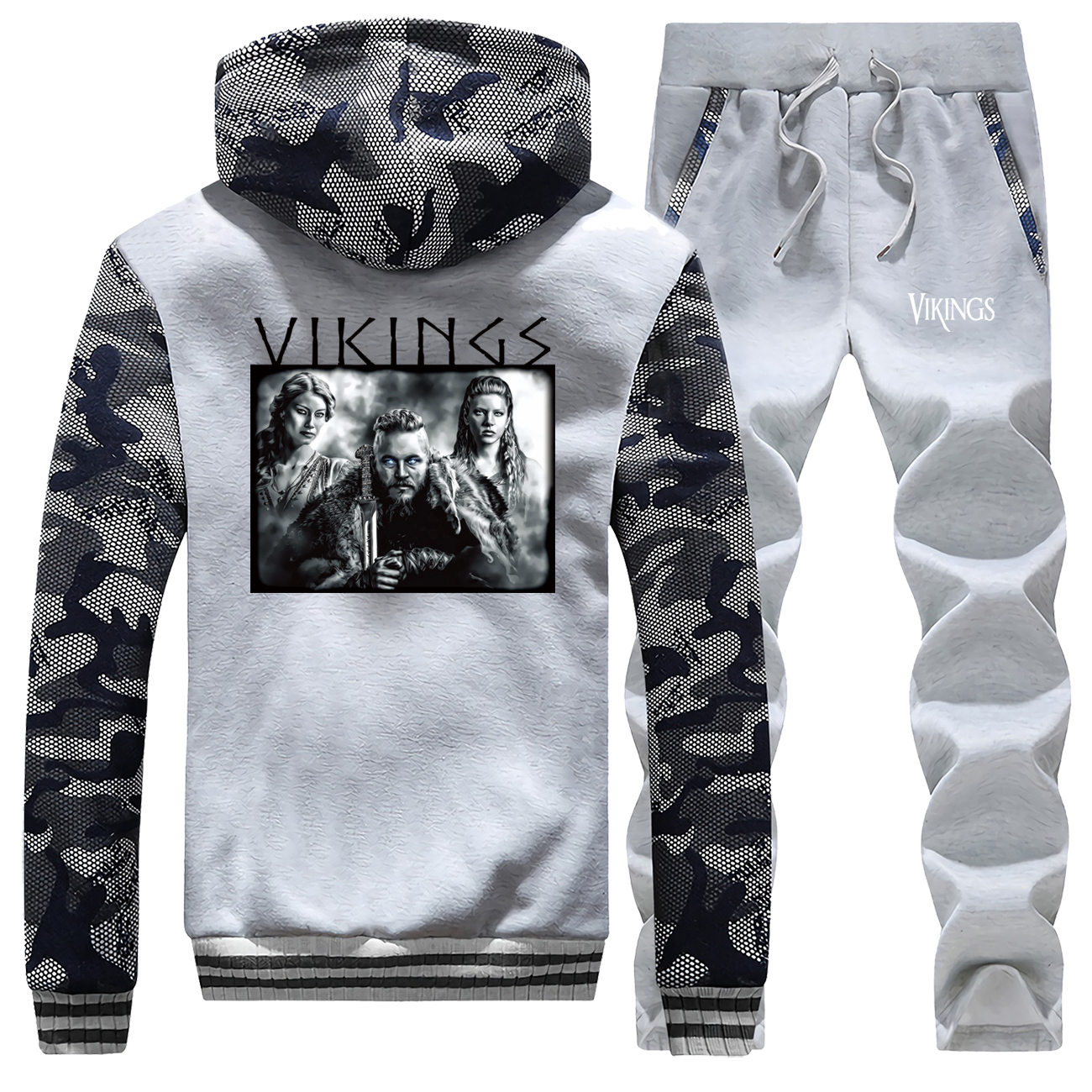 Winter Thick Sports Clothes Brand Costume Male Vikings Track Suit Men Zip Hooded Coat Camouflage Street Pants Stylish Jacket Men