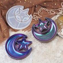 Diy cristal resina epóxi estrela lua placa prato caixa de armazenamento espelho silicone molde silicone para resina