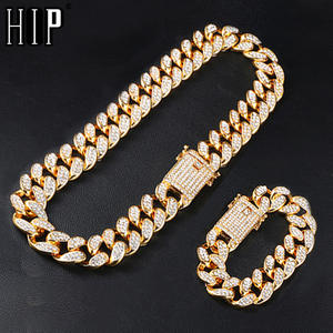 Hip Hop 1Set 20MM Full Heavy Iced Out Paved Rhinestone Miami Curb Cuban Chain CZ Bling