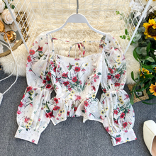 Womens Blouses And Tops French Style Floral Print Sexy Square Neck Designer Irregular Ruffle Elastic