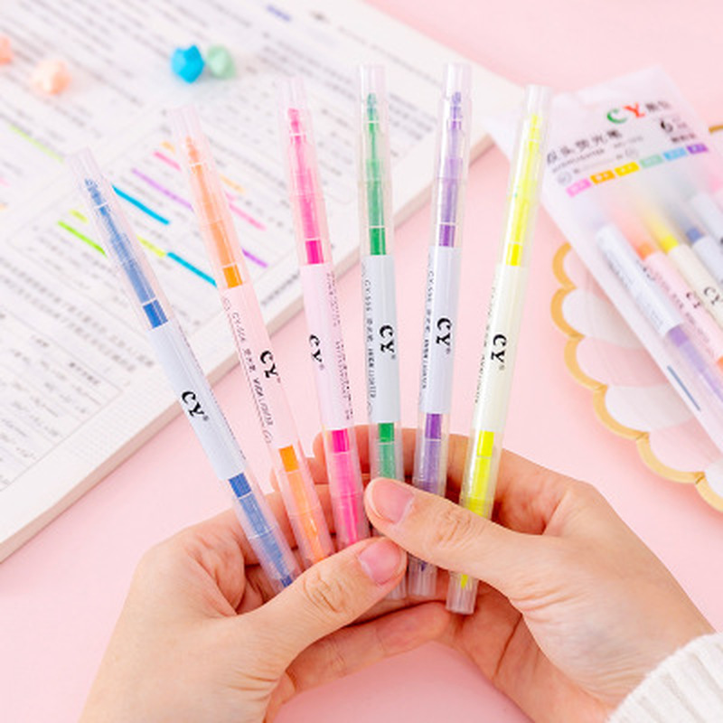 6pcs/set Water Color Highlighter Kawaii Stationery Watercolor Pencils Art Supplies For Kids Drawing Set Markers School Supplies