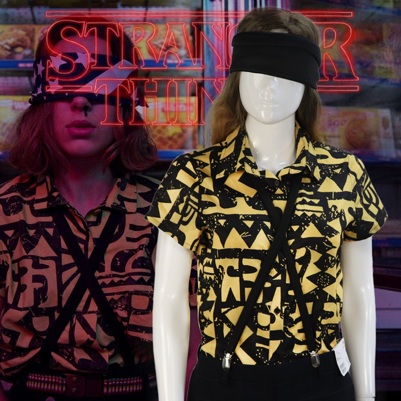Stranger Things Season 3 Eleven Cosplay Costume Shirt Blindfold Suspender Summer T-shirt
