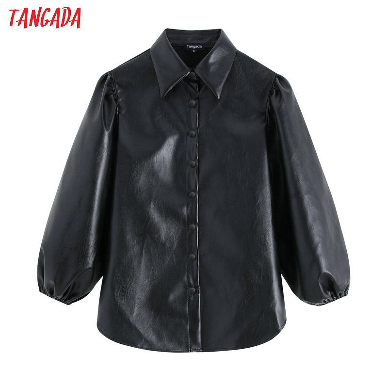 Tangada Women Faux Leather Black Shirts 2019 New Arrival Lantern Sleeve Vintage Female Oversize Blouses Tops BE04