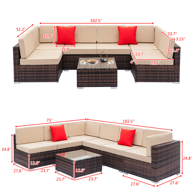 Fully Equipped Weaving Rattan Sofa Set  6