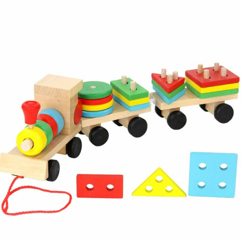 New  Wooden Toys Vehicle Puzzles Train Educational Kids Baby Wooden Solid Wood Stacking Train Toddler Puzzle For Children
