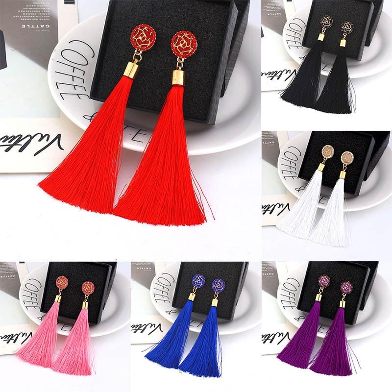 Women Bohemian Crystal Long Tassel Dangle Earrings For Girl Red White Silk Fabric Drop Rose Flower Lotus Earring Fashion Jewelry