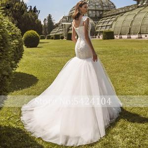 Image 2 - Romantic Scoop Neck Lace Up Mermaid Wedding Dresses 2020 Luxury Cap Sleeve Beaded Appliques Court Train Princess Wedding Gowns