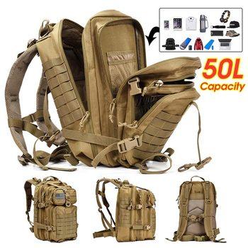 Nueva mochila 3D para deportes al aire libre, de 50L, para pesca y acampada, gran escalada, caza, impermeable, militar, táctica, para viajes al aire libre, para hombre