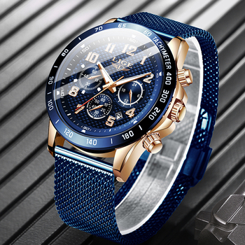 LIGE Fashion Mens Watches Top Brand Luxury WristWatch Quartz Clock Blue Watch Men Waterproof Sport Chronograph Relogio Masculino megir luxury brand men silicone sports watches 2020 fashion army watch man chronograph quartz wristwatch relogio masculino 2161