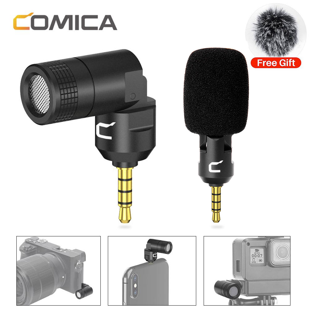 Comica CVM-VS07 Universal 3.5MM Audio Video Wireless Record Microphone Smartphone DSLR SLR Action Camera Microphone For Gopro