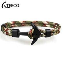 CUTEECO 2019 Fashion Black Color Anchor Bracelets Men Charm Survival Rope Chain Paracord Bracelet Male Wrap Metal Sport Hooks
