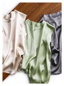 Suit Vest Suspender Top-Blusas Silk Party Silviye Women's Sleeveless Mujer-De-Moda