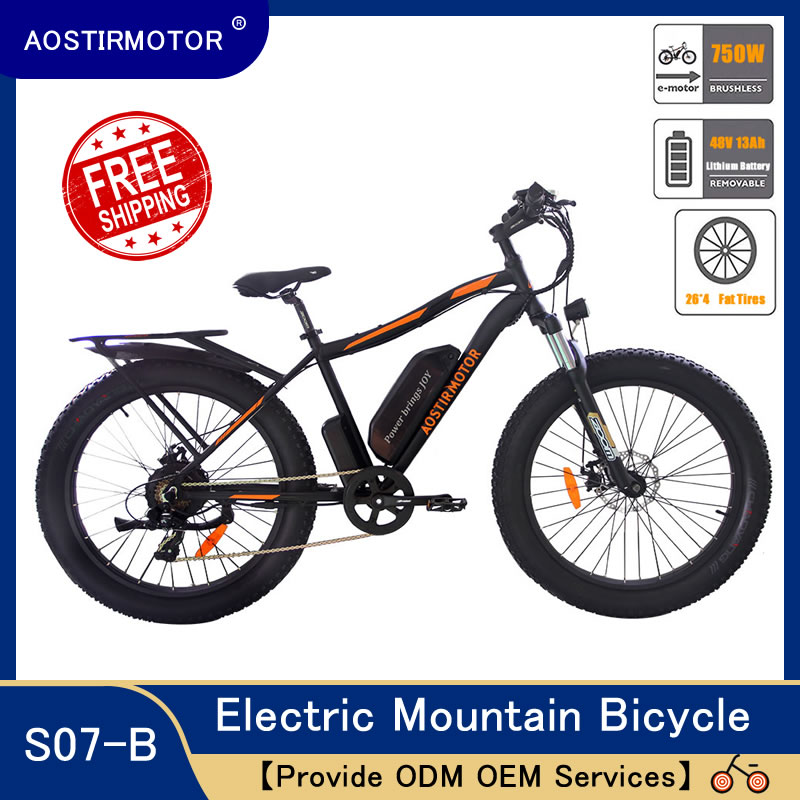 AOSTIRMOTOR Electric font b Bike b font Fat Tire Bicycle Beach Cruiser City font b Bike