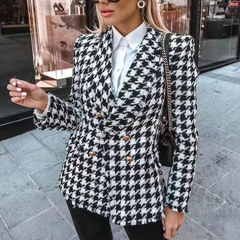 Veste en tweed pour femme, manteau pied-de-poule noir avec pompon, à carreaux épais, mode automne 2020 1