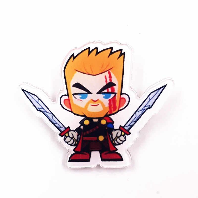 1pcs Os Vingadores Da Marvel Emblemas Acrílico Jóias Homem De Ferro Capitão América Thor Homem Aranha Broches Para Mulheres Dos Homens de lapela Presente pinos