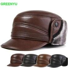 GREENYU Brand Genuine Leather Bomber Hat Men's Winter Thick