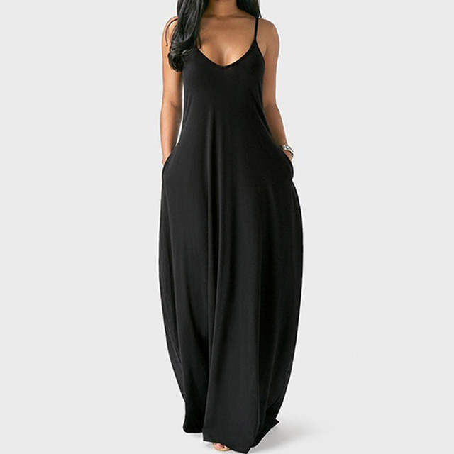 Women's Summer Long Dress Loose Sexy Spaghetti Straps Sleeveless Pockets Solid Color Maxi Dress Casual Plus Size Beach Dresses # 1