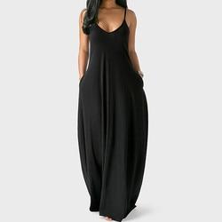 Verão feminino vestido longo solto sexy alças de espaguete sem mangas bolsos cor sólida maxi vestido casual plus size vestidos de praia