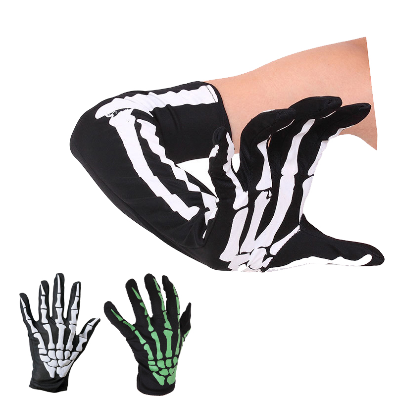 Goocheer Fashion Unisex Gloves Halloween Skeleton Gloves Holloween Cosplay Props Skull Glove Long Hand Bones Sleeves