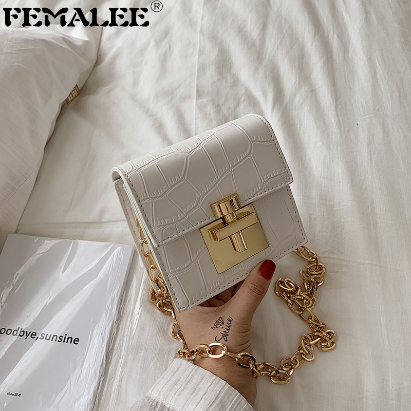 Crocodile Pattern MINI Crossbody Bags For Women 2019 Lock Messenger Shoulder Bag Lady Phone Handbags And Purses Stone Pattern