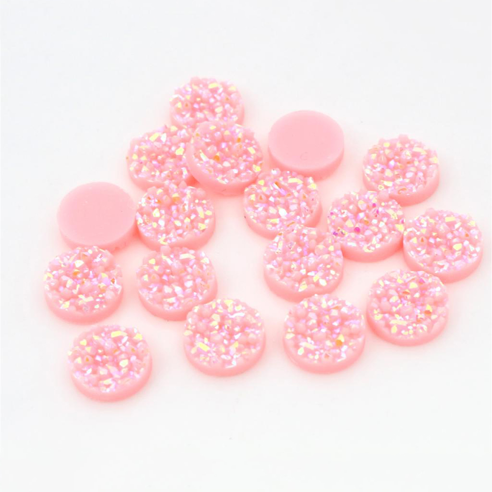 New Fashion 40pcs 12mm Pink AB Colors Natural Ore Style Flat Back Resin Cabochons For Bracelet Earrings Accessories-V4-20