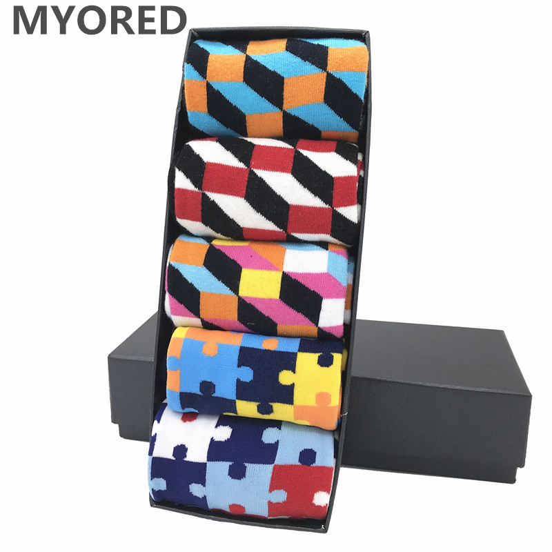 MYORED Funny-Style Socks Dress Business Colorful Casual Mens for Man Wedding-Gift 5-Pair/Lot