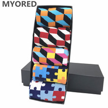 MYORED 2018 NEW 5 pair/lot men socks funny style colorful lot for man business casual dress mens wedding gift