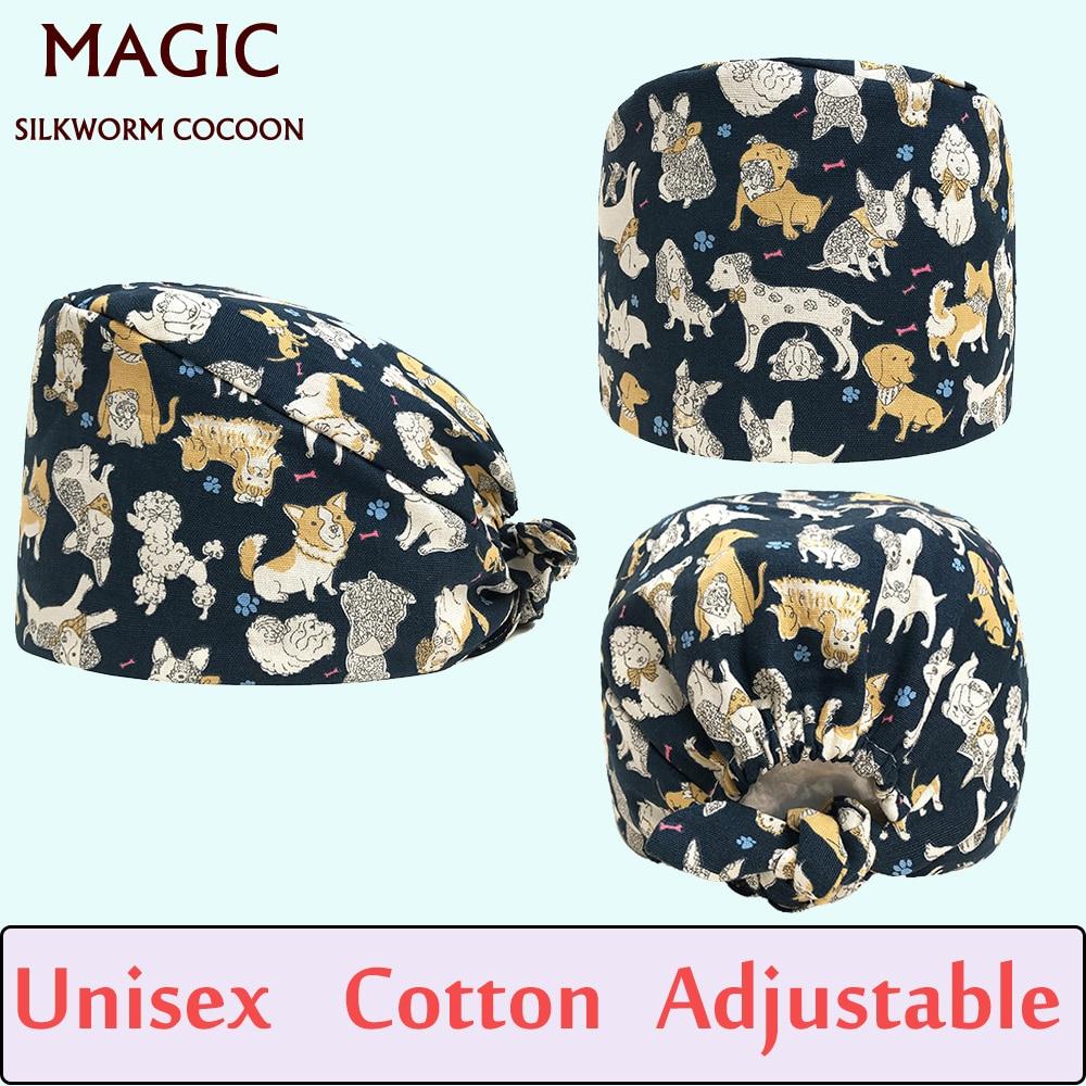 Pet Dog Print Style Nursing Scrub Cap Surgical Hat Mask Medical Hat For Women Hospital OR Working Hats Adjustable Dentist Cap
