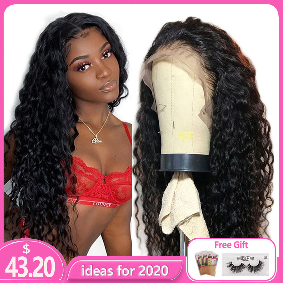 Wigs Short Human-Hair Lace-Front Water-Wave Glueless Pre-Plucked Black 13x4 for Womten title=