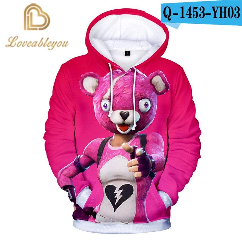 Pink Bear Battle Game Game 3D Hoodie Children Hoodies Streetwear Hip Hop Warm Hoody Sweatshirts Hoodie Harajuku Victory Royal
