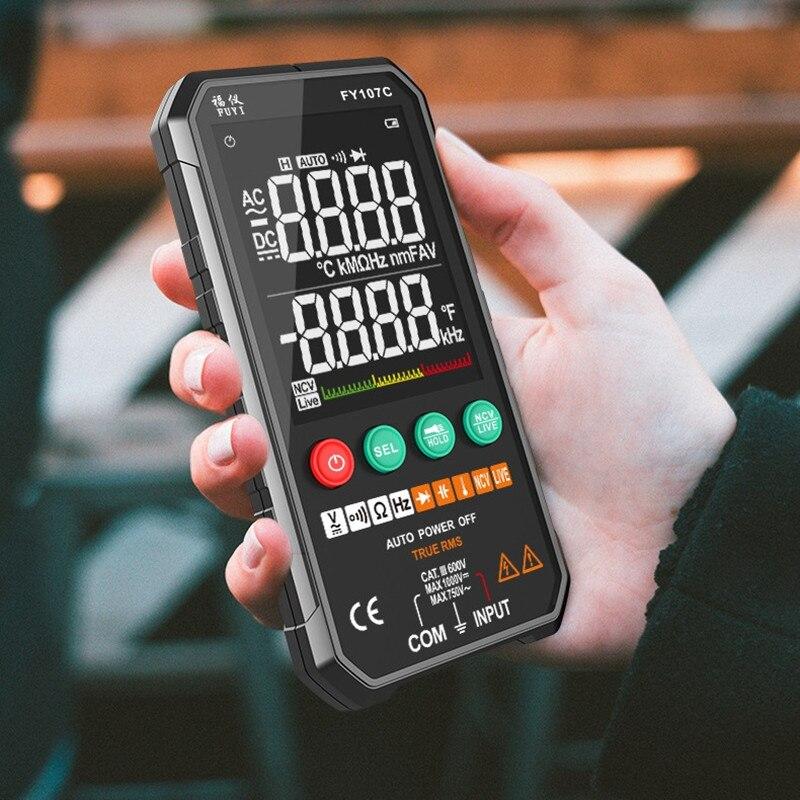 FY107B/FY107C умный автоматический цифровой мультиметр 6000 отсчетов транзисторный конденсатор Температура Напряжение умный счетчик