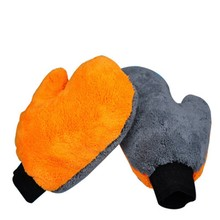 2 Pcs Double Side 25x20cm Car Detailing Washing Plush Terry Microfiber Dust Remove Mitt Car Care Detailing Cleaning Buffing Mitt