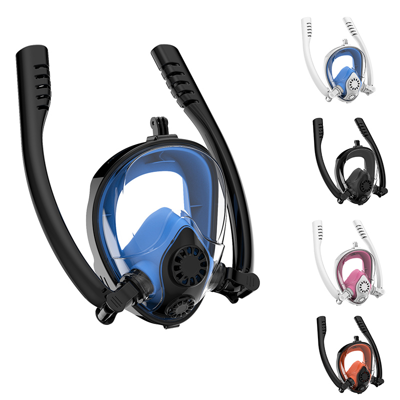 Diving Mask Full Face Double Tube Snorkeling Mask Dry Skin Dive Children & Adult Underwater Swimming Scuba Anti-fog Snorkel Mask