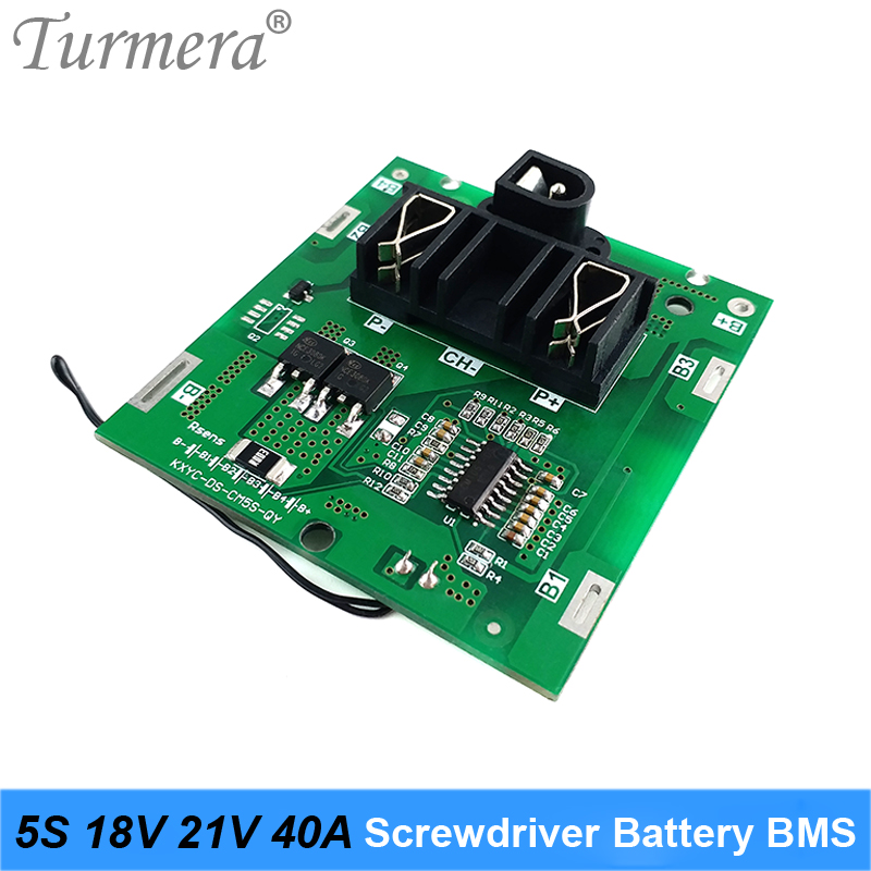 Turmera 5S 18V 21V 40A BMS Lithium Battery Board with Balance for 21V 18V Screwdriver Shurik and Vac