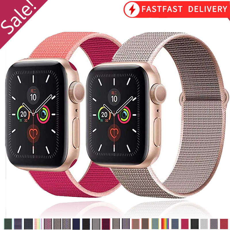 Tali untuk Apple Watch Band Series 6 5 4 3 42Mm 38Mm Nilon Bernapas Gelang Jam untuk IWatch SE band Olahraga Loop Series4 40Mm 44Mm