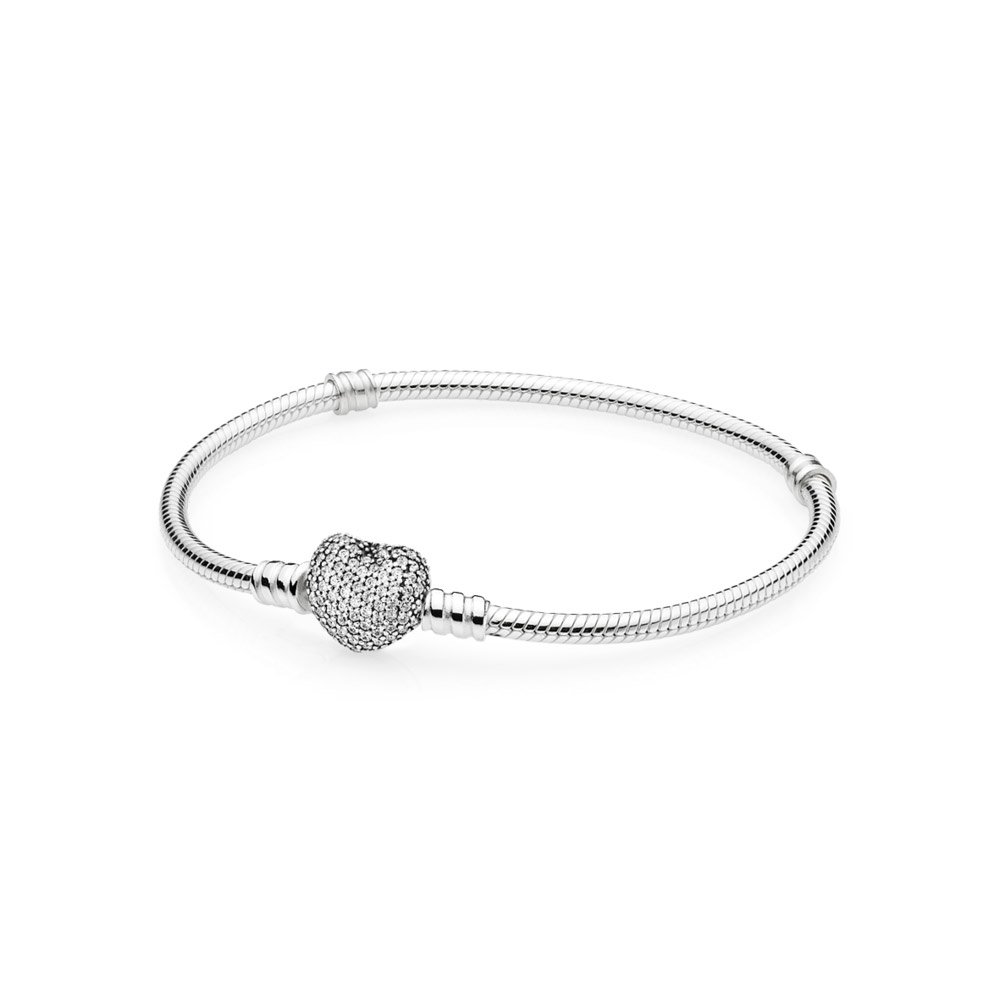 100 925 Sterling Silver DIY heart Pave CZ Bracelet with Original Logo Fit European Fashion Charms Beads Bracelet for Women in Charm Bracelets from Jewelry Accessories