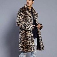 Herren Leopard Jacken neue Warme Dicken Pelz Kragen Mantel Faux Pelz Parka Mode Outwear Strickjacke Sweatshirt Winter Herren Tops Bluse