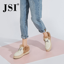 Fur Loafers Platform Women Shoes Chunky Round-Toe Slip-On Genuine-Leather Casual JSI